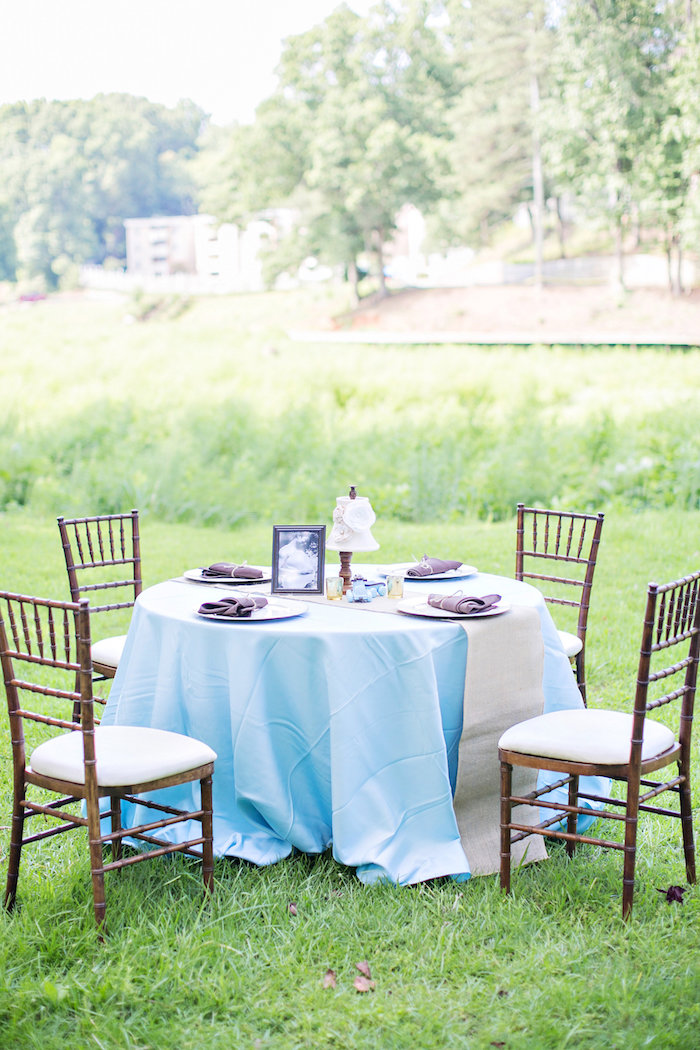 Round guest table with brown chiavari chairs from a Bottles and Burlap Baby Shower on Kara's Party Ideas | KarasPartyIdeas.com (33)