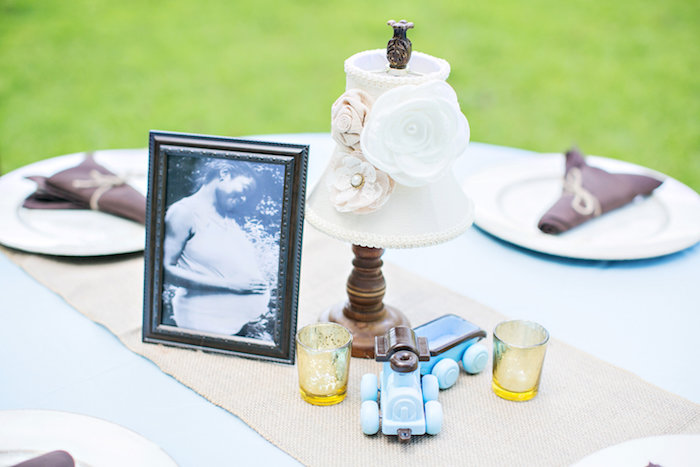 Guest table decor from a Bottles and Burlap Baby Shower on Kara's Party Ideas | KarasPartyIdeas.com (31)