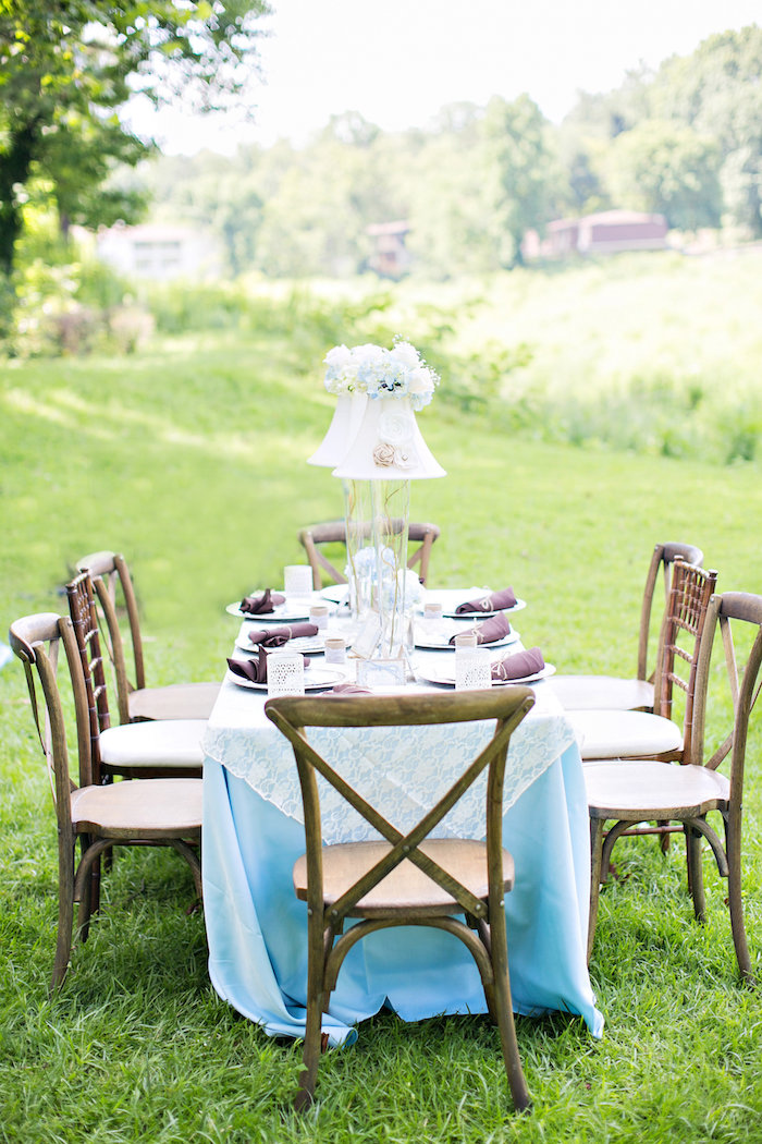 Guest table from a Bottles and Burlap Baby Shower on Kara's Party Ideas | KarasPartyIdeas.com (27)