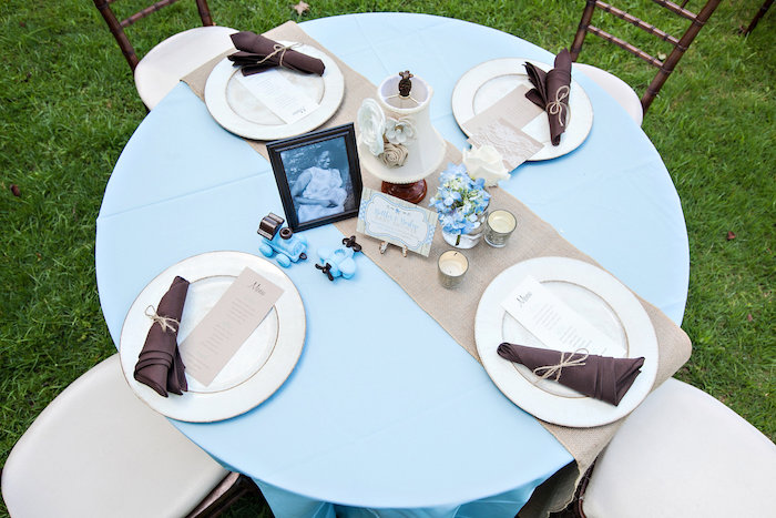 Guest tabletop from a Bottles and Burlap Baby Shower on Kara's Party Ideas | KarasPartyIdeas.com (44)