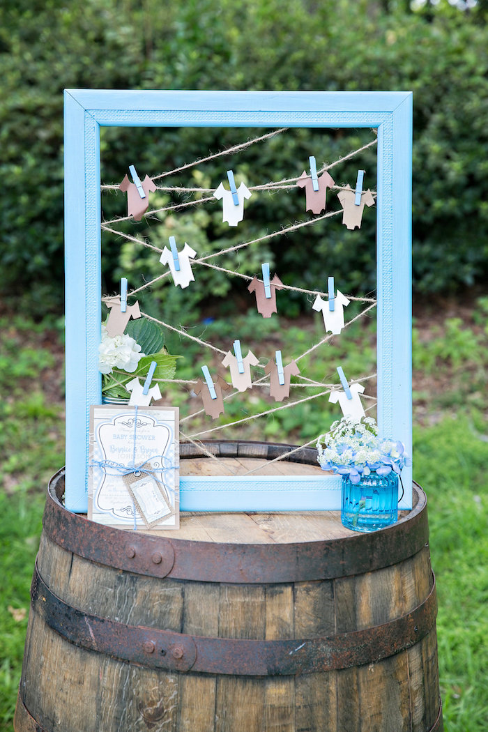 Onesie bunting frame from a Bottles and Burlap Baby Shower on Kara's Party Ideas | KarasPartyIdeas.com (20)