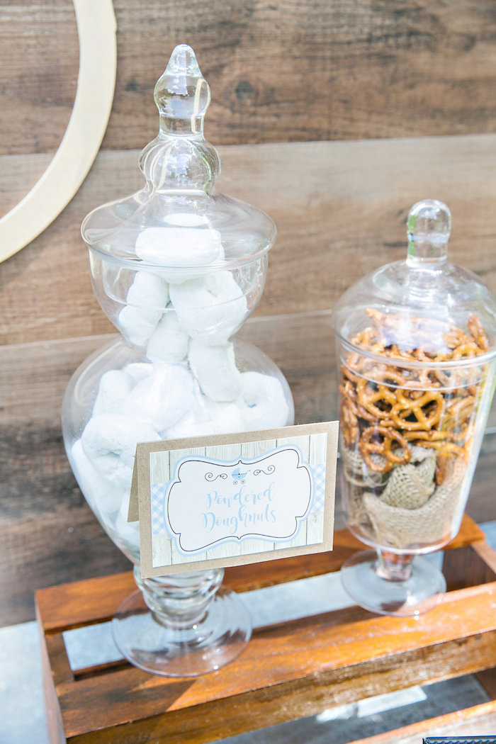 Powered doughnuts and pretzels in apothecary jars from a Bottles and Burlap Baby Shower on Kara's Party Ideas | KarasPartyIdeas.com (18)
