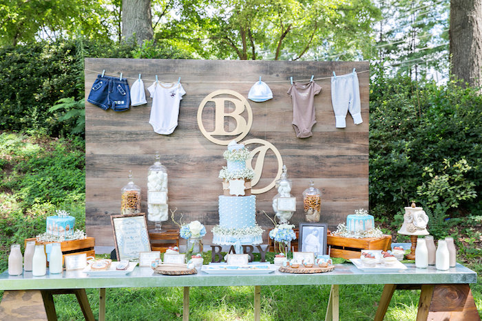 Dessert table from a Bottles and Burlap Baby Shower on Kara's Party Ideas | KarasPartyIdeas.com (16)