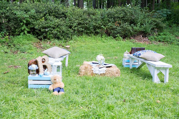 Lounge area from a Bottles and Burlap Baby Shower on Kara's Party Ideas | KarasPartyIdeas.com (13)
