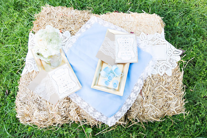 Straw bail & lace from a from a Bottles and Burlap Baby Shower on Kara's Party Ideas | KarasPartyIdeas.com (12)
