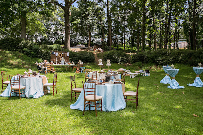 Guest tables + partyscape from a Bottles and Burlap Baby Shower on Kara's Party Ideas | KarasPartyIdeas.com (10)