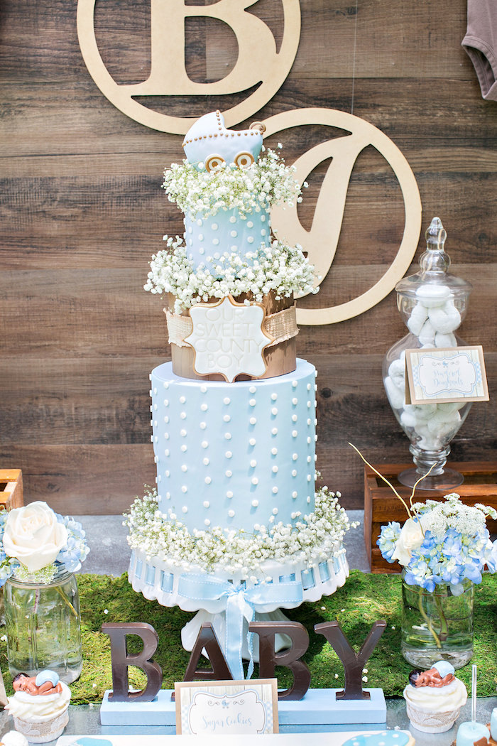 Beautiful Cake From A Bottles And Burlap Baby Shower On Karau0027s Party Ideas |  KarasPartyIdeas.com
