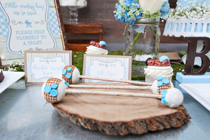 Rattle cake pops from a Bottles and Burlap Baby Shower on Kara's Party Ideas | KarasPartyIdeas.com (42)