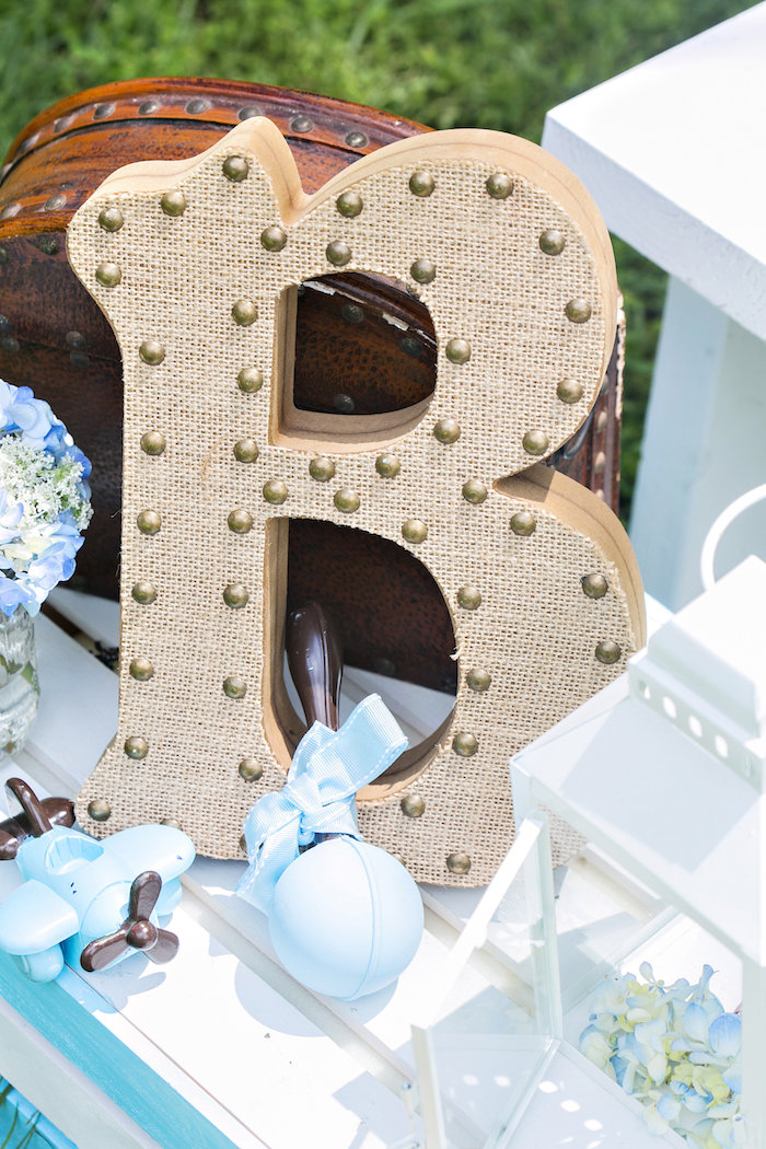 Burlap block letter from a Bottles and Burlap Baby Shower on Kara's Party Ideas | KarasPartyIdeas.com (4)