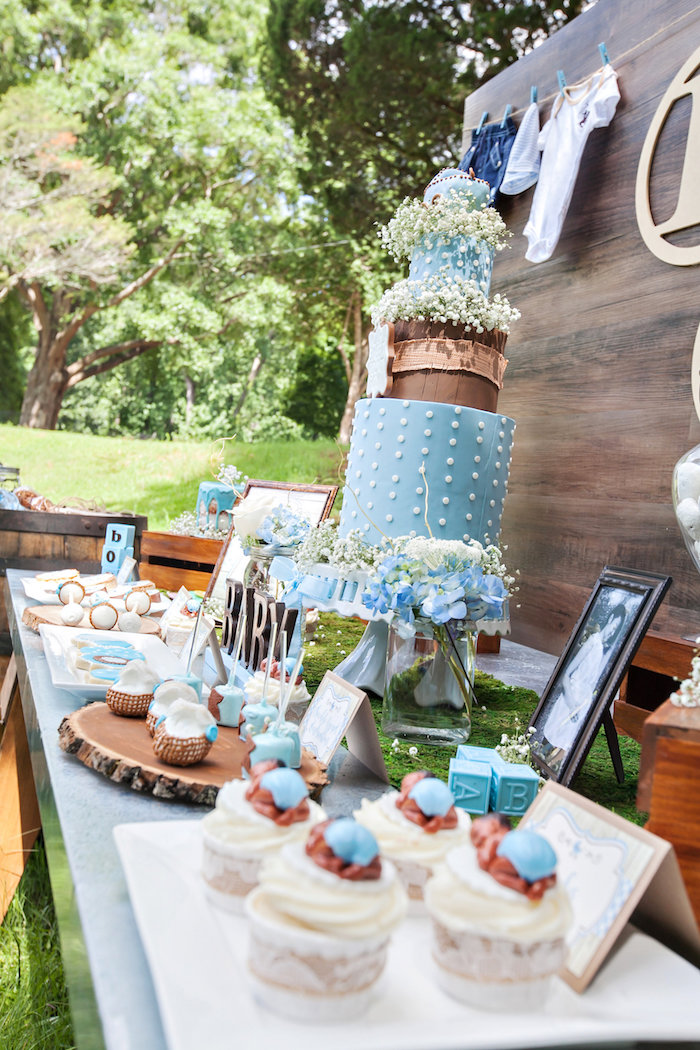 Dessert Tablescape From A Bottles And Burlap Baby Shower On Karau0027s Party  Ideas | KarasPartyIdeas.