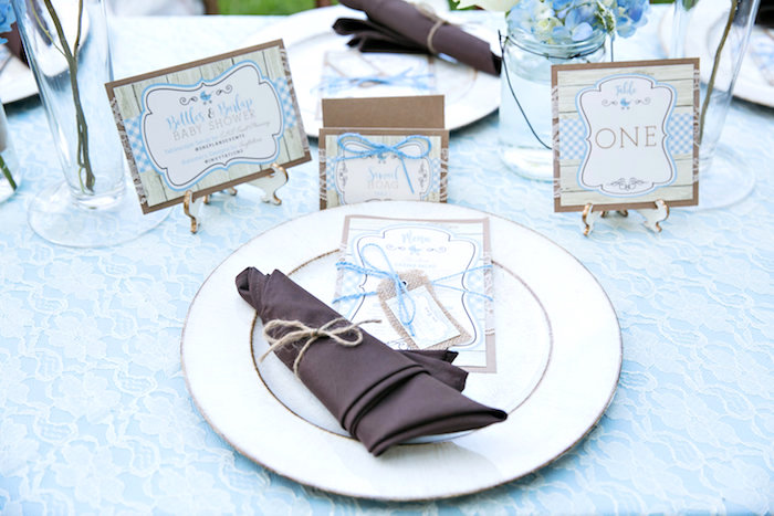 Place setting from a Bottles and Burlap Baby Shower on Kara's Party Ideas | KarasPartyIdeas.com (38)