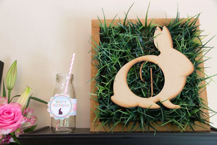 Wooden bunny grass shadowbox from Bunny and Butterfly Birthday Party on Kara's Party Ideas | KarasPartyIdeas.com (27)