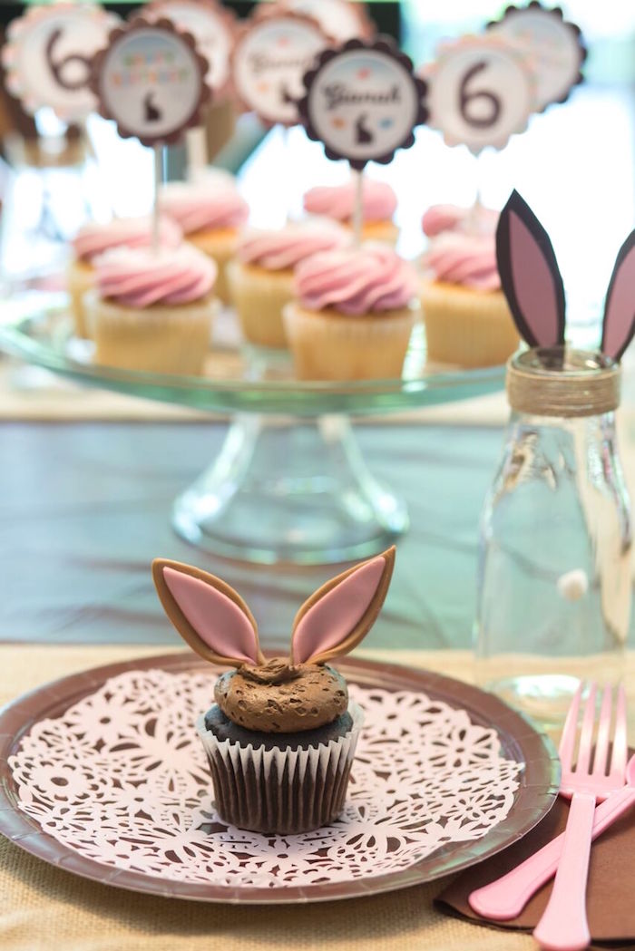 Place setting from a Bunny and Butterfly Birthday Party on Kara's Party Ideas | KarasPartyIdeas.com (26)