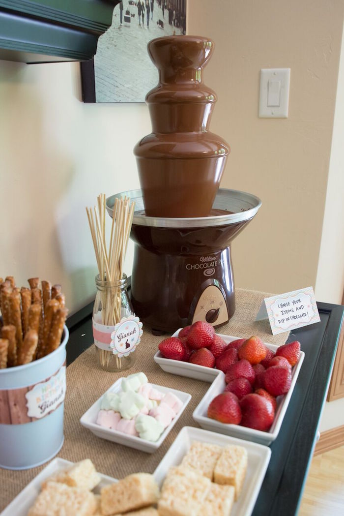 Chocolate fountain table from a Bunny and Butterfly Birthday Party on Kara's Party Ideas | KarasPartyIdeas.com (21)
