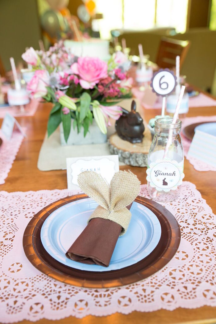 Place setting from a Bunny and Butterfly Birthday Party on Kara's Party Ideas | KarasPartyIdeas.com (18)