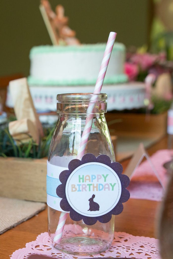 Bunny drink bottle from a Bunny and Butterfly Birthday Party on Kara's Party Ideas | KarasPartyIdeas.com (17)