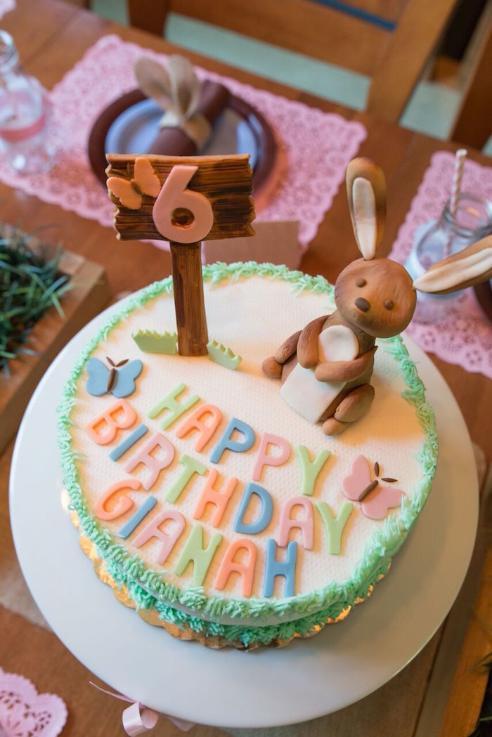 Bunny birthday cake from a Bunny and Butterfly Birthday Party on Kara's Party Ideas | KarasPartyIdeas.com (15)
