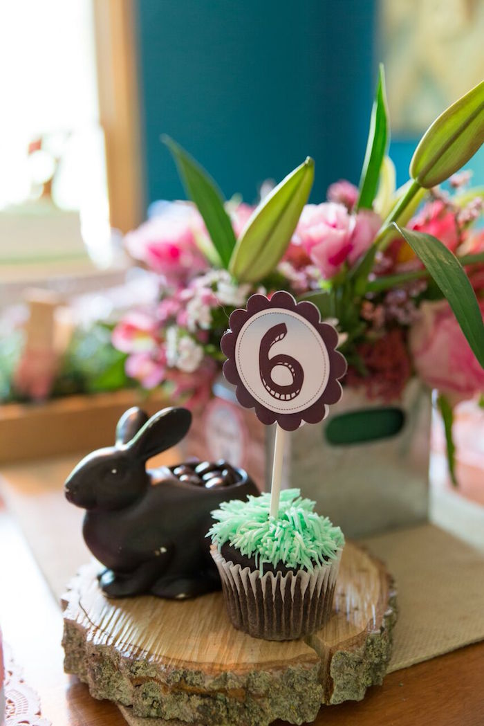 Grass cupcake and bunny from a Bunny and Butterfly Birthday Party on Kara's Party Ideas | KarasPartyIdeas.com (14)
