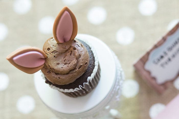Bunny eared cupcake from a Bunny and Butterfly Birthday Party on Kara's Party Ideas | KarasPartyIdeas.com (12)
