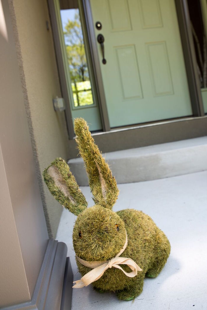 Moss bunny decoration from a Bunny and Butterfly Birthday Party on Kara's Party Ideas | KarasPartyIdeas.com (7)