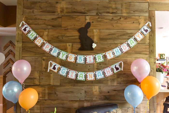 Bunny backdrop + photo booth from a Bunny and Butterfly Birthday Party on Kara's Party Ideas | KarasPartyIdeas.com (5)