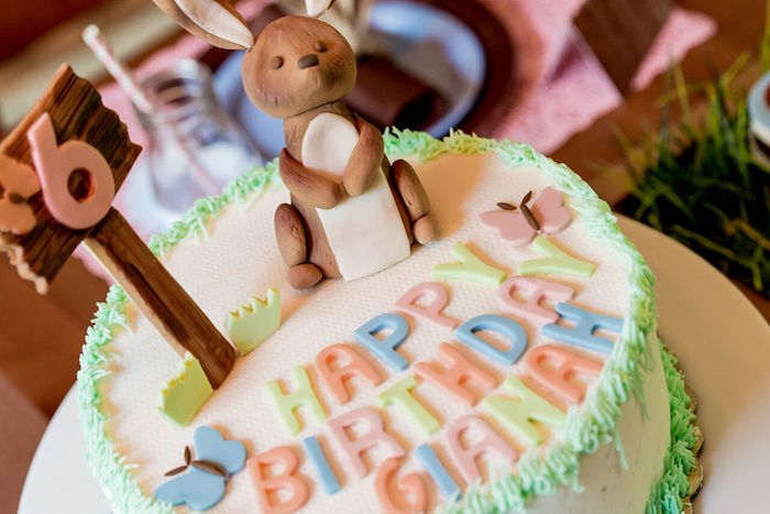 Bunny birthday cake from a Bunny and Butterfly Birthday Party on Kara's Party Ideas | KarasPartyIdeas.com (40)