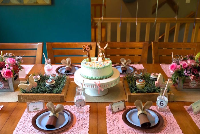 Guest tablescape from a Bunny and Butterfly Birthday Party on Kara's Party Ideas | KarasPartyIdeas.com (39)