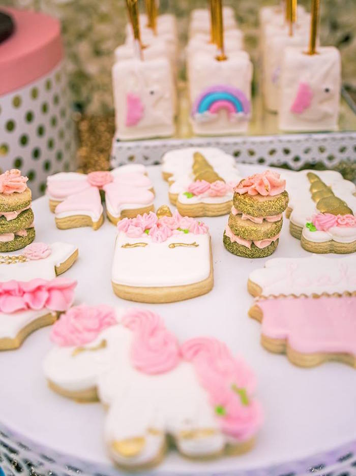 Cookies from a Burgundy & Blush Unicorn Baby Shower on Kara's Party Ideas | KarasPartyIdeas.com (12)