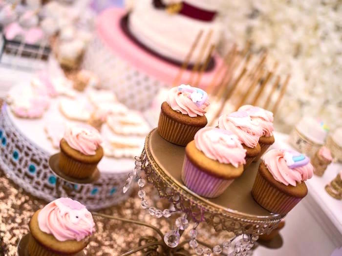 Cupcakes from a Burgundy & Blush Unicorn Baby Shower on Kara's Party Ideas | KarasPartyIdeas.com (10)