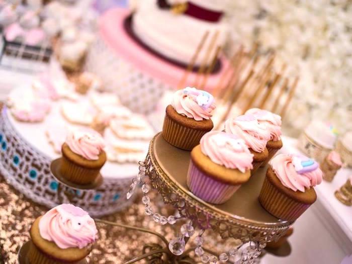 Cupcakes from a Burgundy & Blush Unicorn Baby Shower on Kara's Party Ideas | KarasPartyIdeas.com (10)