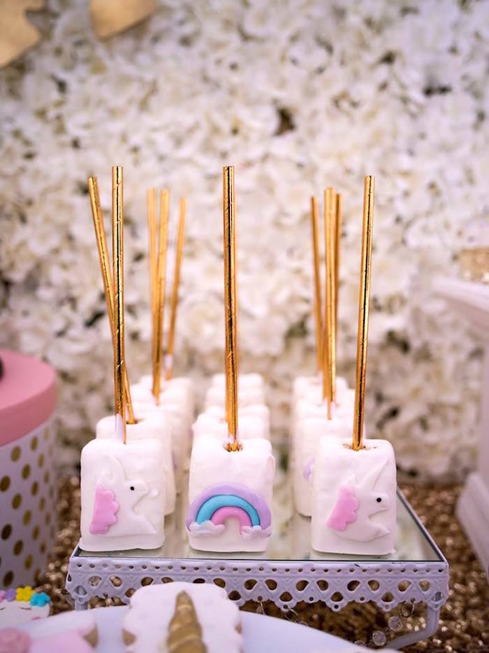Unicorn Rice Krispie Treats from a Burgundy & Blush Unicorn Baby Shower on Kara's Party Ideas | KarasPartyIdeas.com (8)