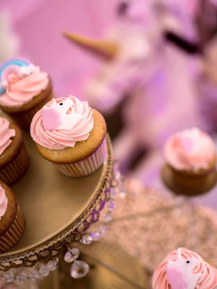 Unicorn cupcakes from a Burgundy & Blush Unicorn Baby Shower on Kara's Party Ideas | KarasPartyIdeas.com (7)