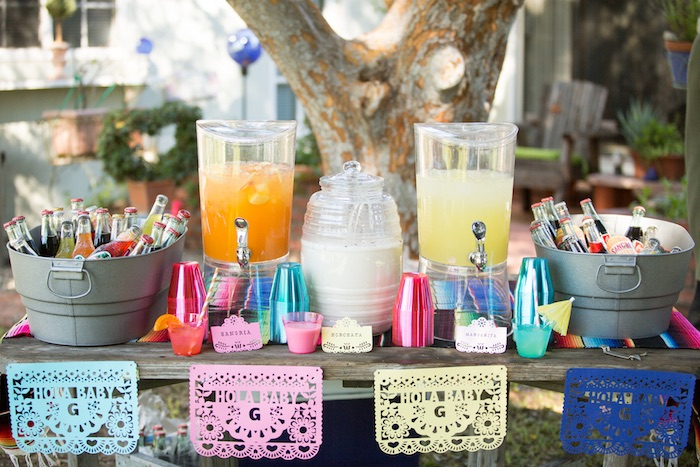 Beverage table from a Cactus Fiesta Baby Shower on Kara's Party Ideas | KarasPartyIdeas.com (26)