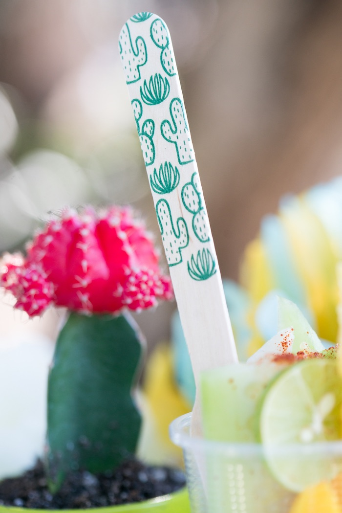Cactus-stamped wood fork from a Cactus Fiesta Baby Shower on Kara's Party Ideas | KarasPartyIdeas.com (17)