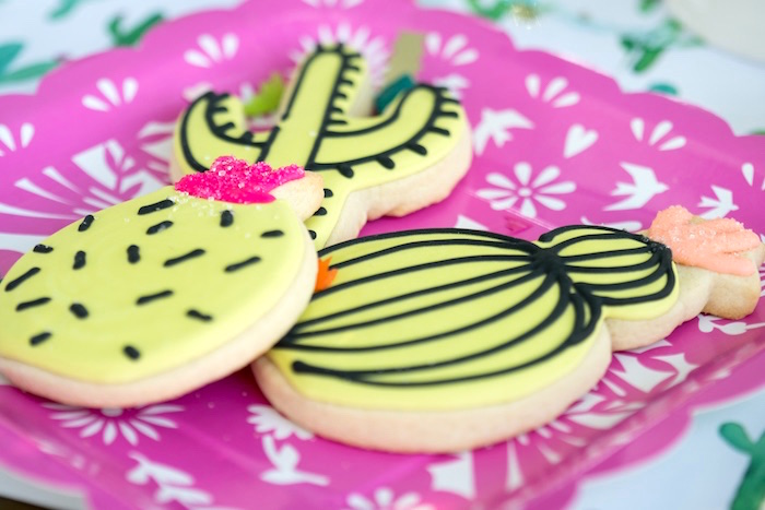 Cactus cookies from a Cactus Fiesta Baby Shower on Kara's Party Ideas | KarasPartyIdeas.com (12)