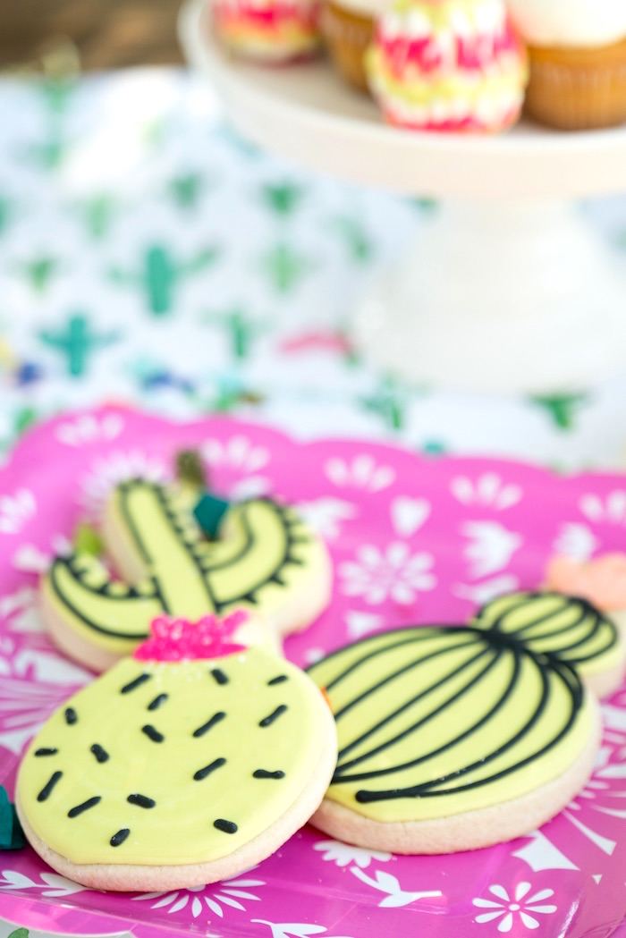 Cactus cookies from a Cactus Fiesta Baby Shower on Kara's Party Ideas | KarasPartyIdeas.com (11)