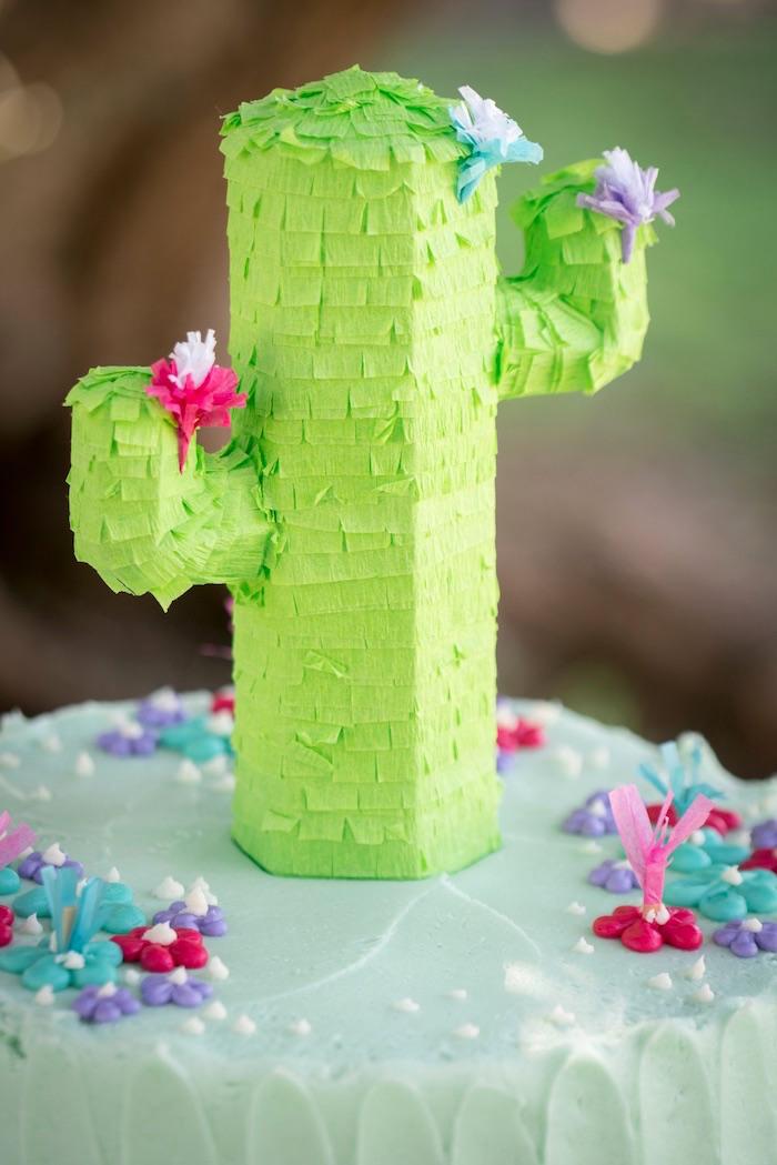 Pinata cactus cake topper from a Cactus Fiesta Baby Shower on Kara's Party Ideas | KarasPartyIdeas.com (8)