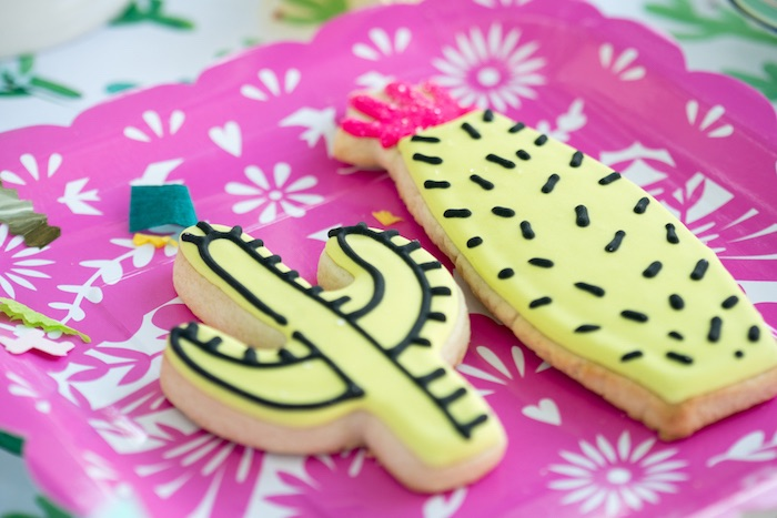 Cactus cookies from a Cactus Fiesta Baby Shower on Kara's Party Ideas | KarasPartyIdeas.com (5)