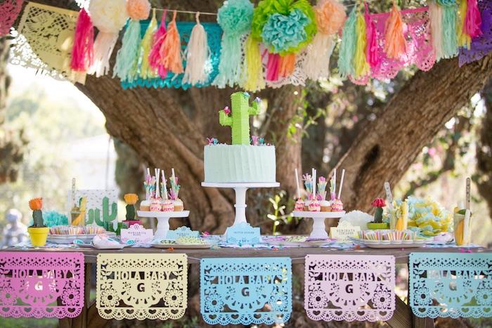 """Hola Baby"" dessert table from a Cactus Fiesta Baby Shower on Kara's Party Ideas | KarasPartyIdeas.com (33)"