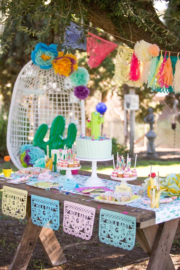 Cake table from a Cactus Fiesta Baby Shower on Kara's Party Ideas | KarasPartyIdeas.com (32)