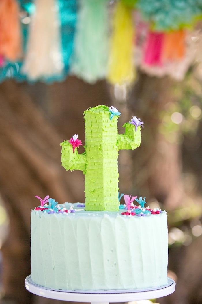 Cactus cake from a Cactus Fiesta Baby Shower on Kara's Party Ideas | KarasPartyIdeas.com (30)