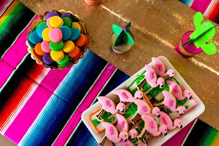 Dessert tabletop from a Cactus & Flamingo First Birthday Fiesta on Kara's Party Ideas | KarasPartyIdeas.com (28)