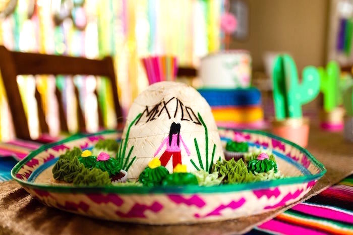 Sombrero from a Cactus & Flamingo First Birthday Fiesta on Kara's Party Ideas | KarasPartyIdeas.com (27)