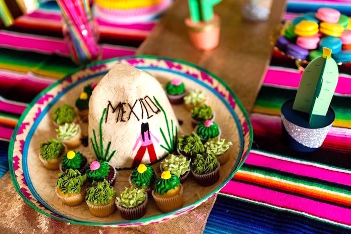 Cactus cupcakes on a sombrero from a Cactus & Flamingo First Birthday Fiesta on Kara's Party Ideas | KarasPartyIdeas.com (26)