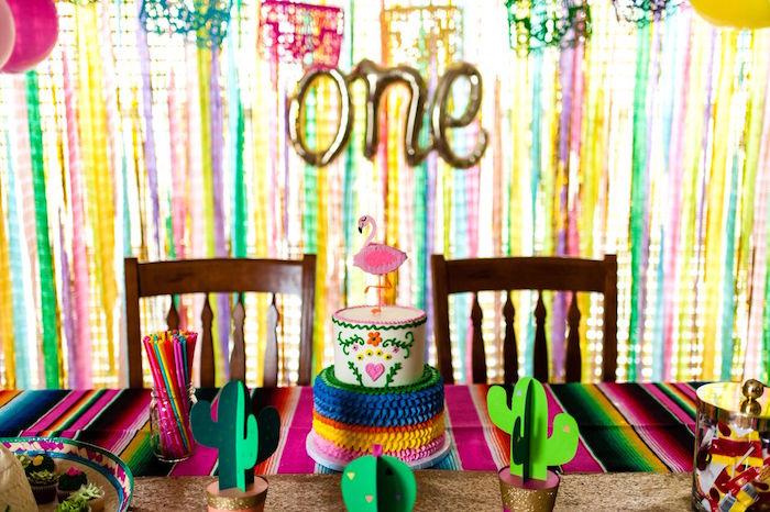 Cake table from a Cactus & Flamingo First Birthday Fiesta on Kara's Party Ideas | KarasPartyIdeas.com (25)