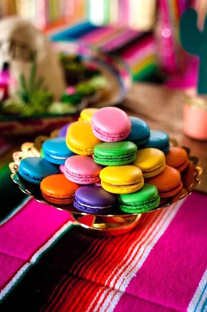 Macarons from a Cactus & Flamingo First Birthday Fiesta on Kara's Party Ideas | KarasPartyIdeas.com (24)