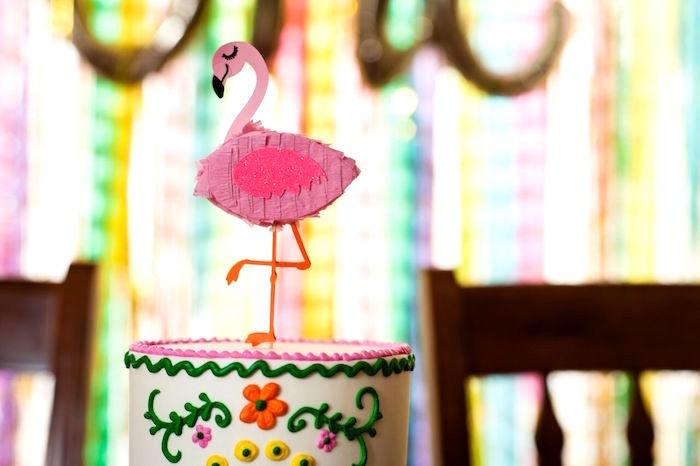 Flamingo cake topper from a Cactus & Flamingo First Birthday Fiesta on Kara's Party Ideas | KarasPartyIdeas.com (20)