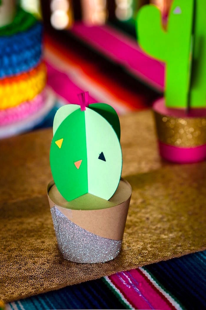 Paper cactus decoration from a Cactus & Flamingo First Birthday Fiesta on Kara's Party Ideas | KarasPartyIdeas.com (19)