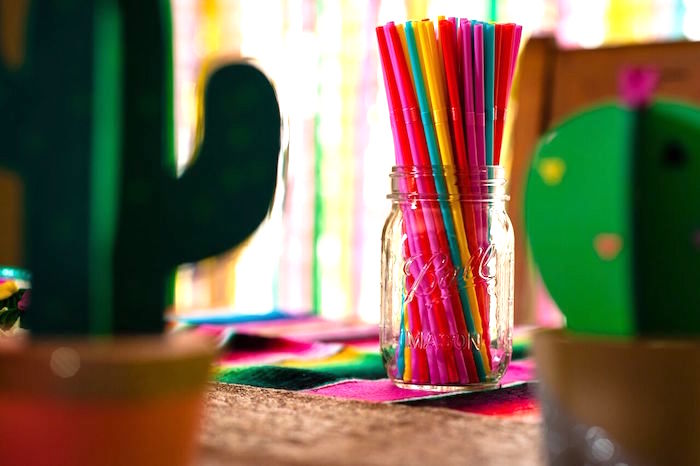 Colored straws from a Cactus & Flamingo First Birthday Fiesta on Kara's Party Ideas | KarasPartyIdeas.com (18)