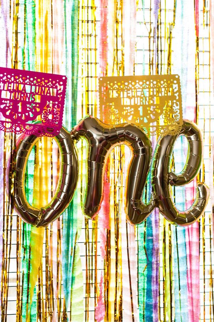 """One"" balloon banner from a Cactus & Flamingo First Birthday Fiesta on Kara's Party Ideas | KarasPartyIdeas.com (17)"